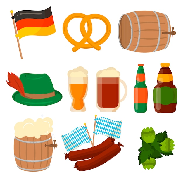 Satz deutsche oktoberfest-elemente lokalisiert. Premium Vektoren