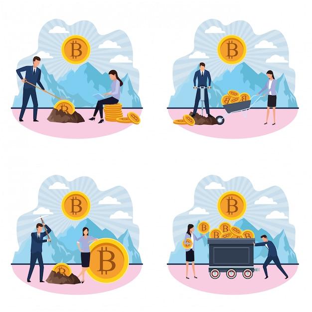 Satz digitaler bergbau-bitcoin coupple Premium Vektoren