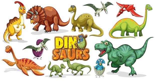 Satz dinosaurierkarikaturfigur lokalisiert auf weißem hintergrund Kostenlosen Vektoren