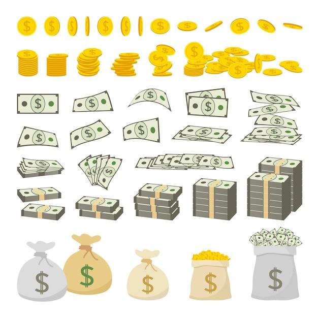 Satz dollarzeichengeld und goldmünzen lokalisiert auf weißem hintergrund Premium Vektoren