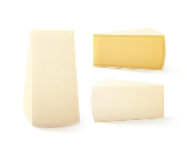 Satz dreieckige stücke von bri-käse-nahaufnahme lokalisiert auf weißem hintergrund Premium Vektoren