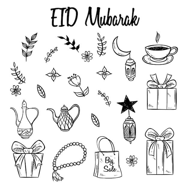 Satz eid mubarak-ikonen oder -elemente mit hand gezeichneter art Premium Vektoren