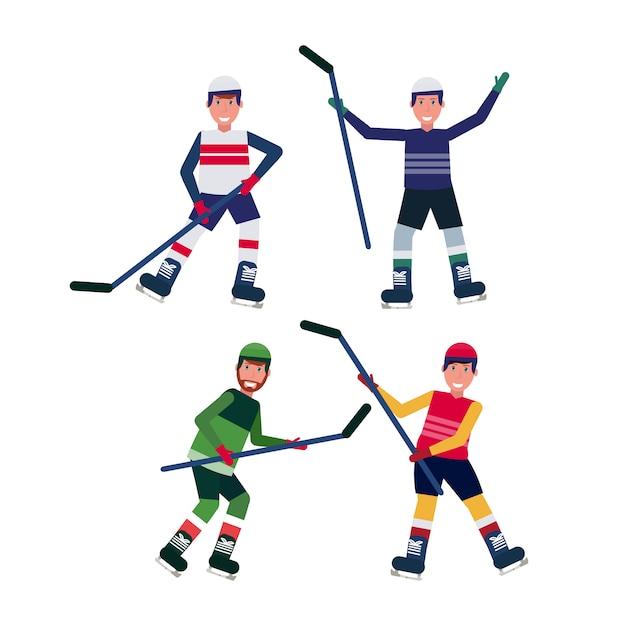 Satz eishockeyspieler verschiedene haltungen, die das stockeislaufziel feiert männliche zeichentrickfilm-figur-sammlungsebene in voller länge lokalisiert halten Premium Vektoren