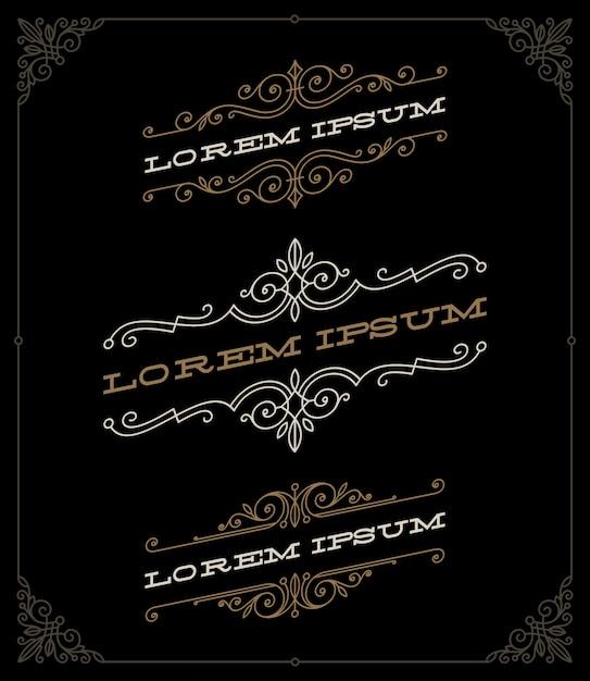 Satz elegante vintage dekorative embleme und logos vorlagen - illustration. Premium Vektoren