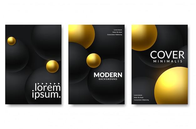 Satz elegantes hintergrunddesign bunte steigungen, golden, karte, hintergrund, abdeckung, vektor eps10 schwarze und goldene beschaffenheit Premium Vektoren