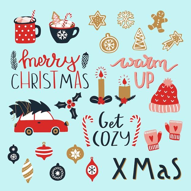 Satz elemente der frohen weihnachten und des guten rutsch ins neue jahr. Premium Vektoren