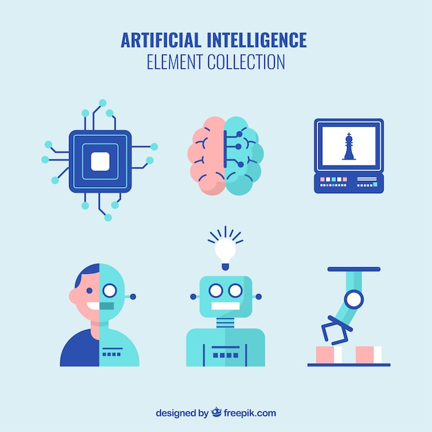 Satz elemente der künstlichen intelligenz im flachen design Kostenlosen Vektoren