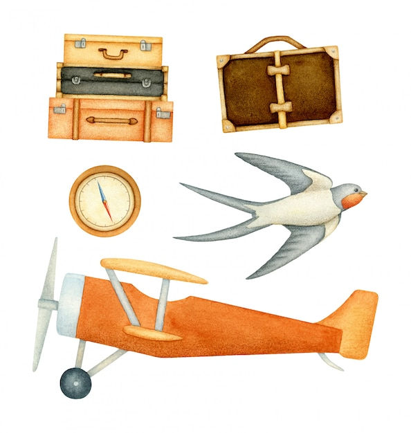 Satz elemente mit flugzeug, gepäck, schwalbe und kompass Premium Vektoren