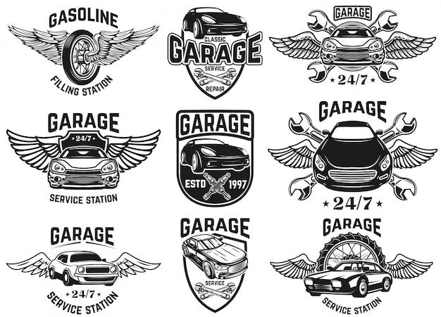 Satz embleme für autoreparatur, garage, service. für logo, etikett, schild, abzeichen. illustration Premium Vektoren