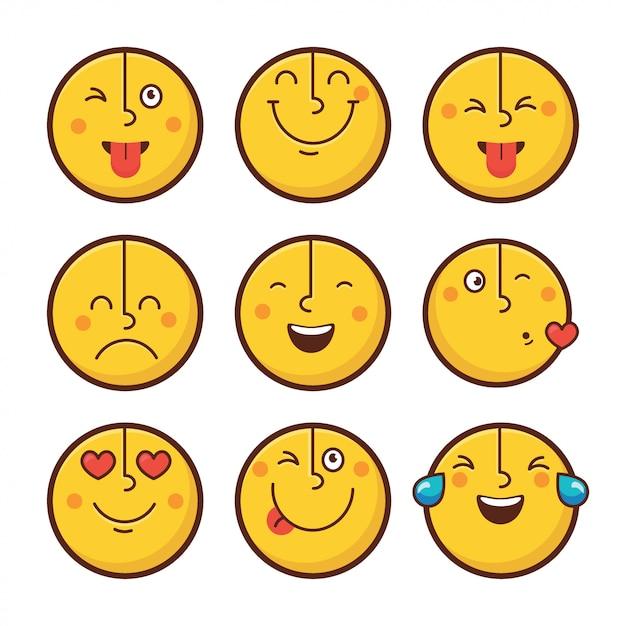 Satz emoticongesichtsgefühle Premium Vektoren