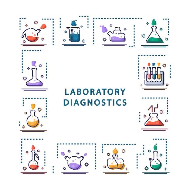 Satz entwurfsikonen, framelaboratory flaschen, reagenzgläser für wissenschaftliches experiment. chemisches labor Premium Vektoren