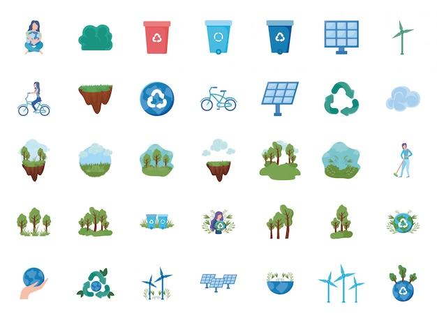 Satz erneuerbare energie der ikonen auf weiß Premium Vektoren