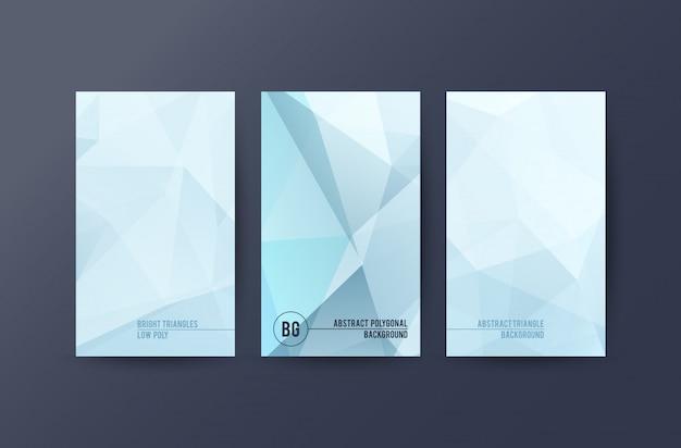 Satz fahnen mit polygonalem abstraktem hintergrund Premium Vektoren