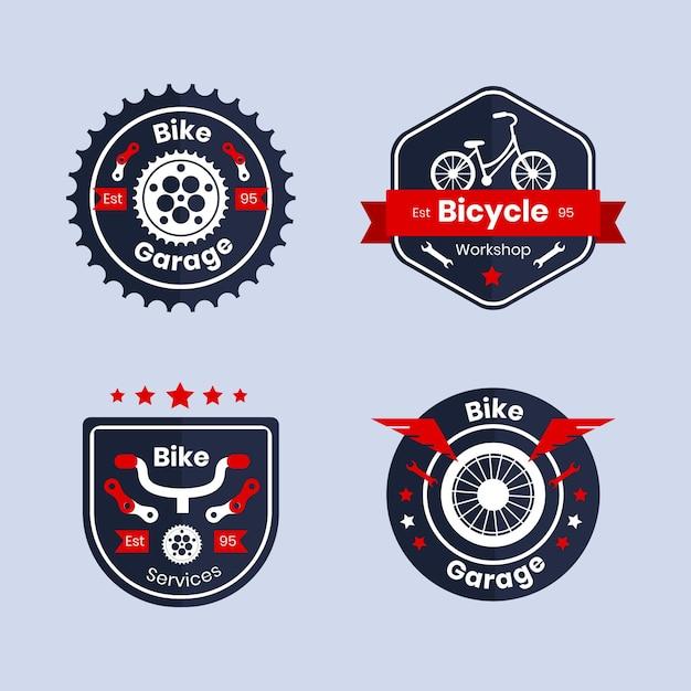 Satz fahrradlogo im flachen design Kostenlosen Vektoren