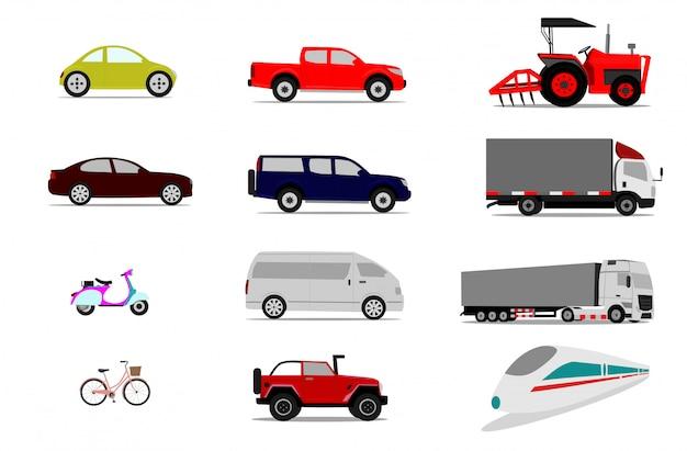 Satz fahrzeuge auf weißem hintergrund, lokalisierte sammlung transport Premium Vektoren