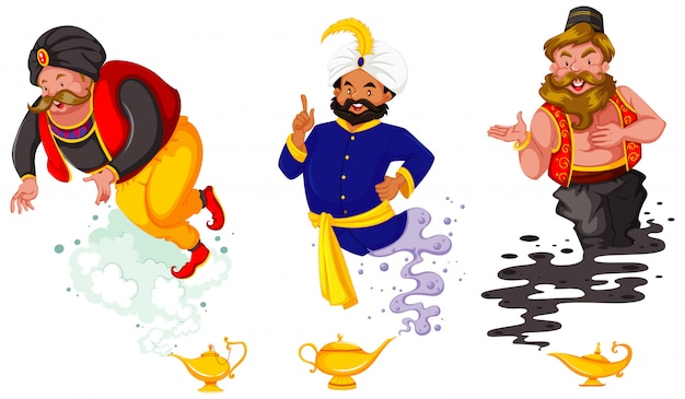 Satz fantasiekarikaturfiguren und fantasie-thema lokalisiert auf weißem hintergrund Kostenlosen Vektoren