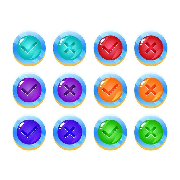Satz fantasy space jelly game ui button ja und nein häkchen Premium Vektoren