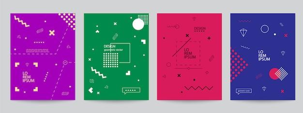 Satz farbige abdeckungen mit minimalem design und geometrischen formen Premium Vektoren