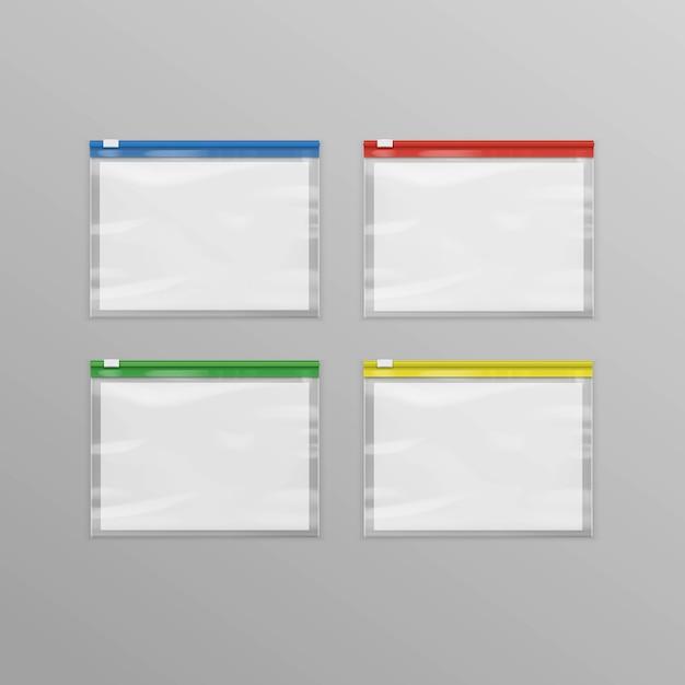 Satz farbige leere transparente kunststoff-reißverschlusstaschen Premium Vektoren