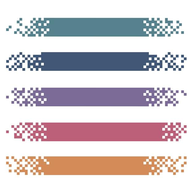 Satz farbige moderne pixelfahnen für titel Premium Vektoren