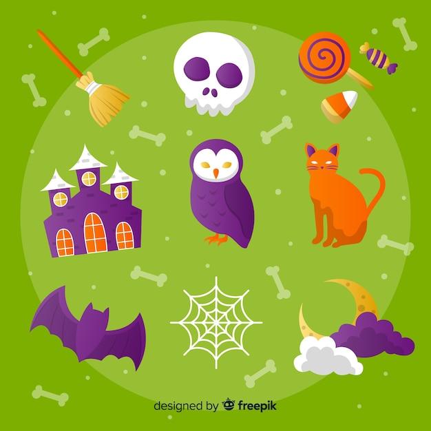 Satz flache art halloween-elemente Kostenlosen Vektoren