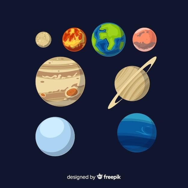 Satz flache designsonnensystemplaneten Kostenlosen Vektoren