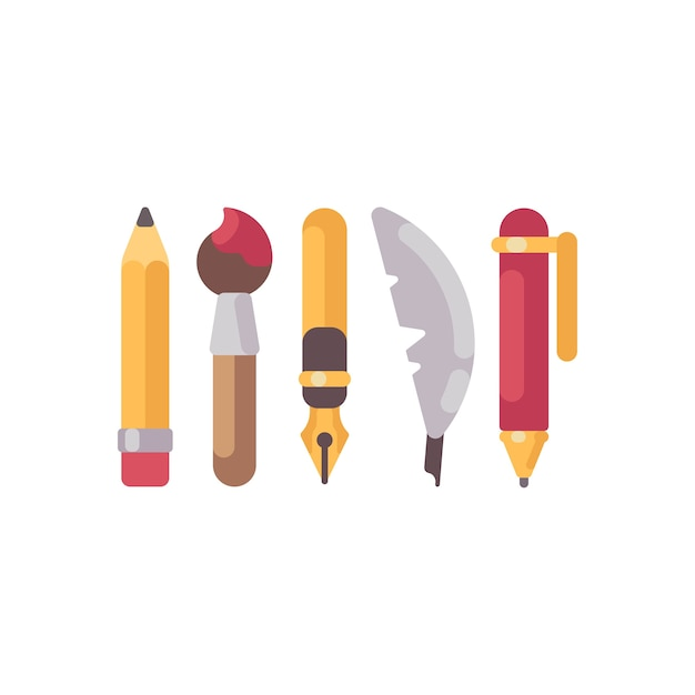 Satz flache ikonen der schreibens und des zeichnens von werkzeugen. bleistift, stifte, feder und pinsel Premium Vektoren