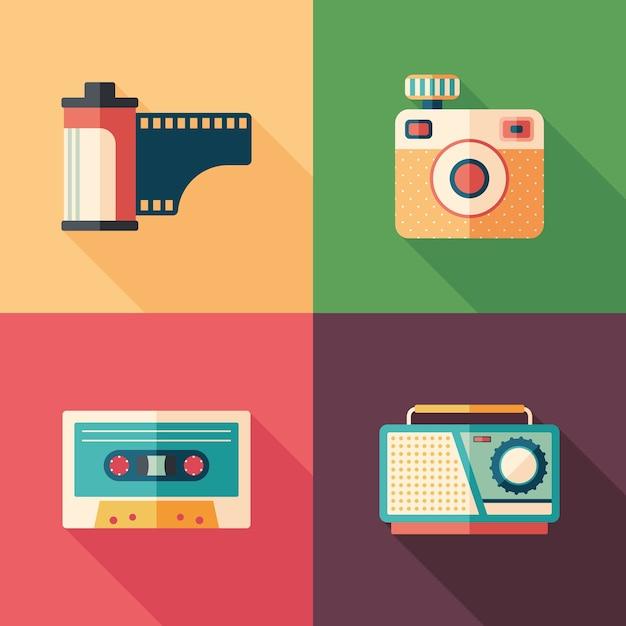 Satz flache ikonen des weinlesefotos und -audios mit langen schatten. Premium Vektoren