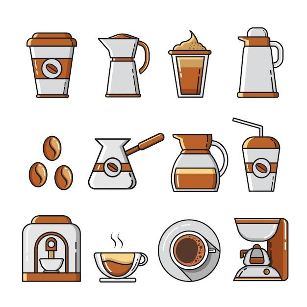 Satz flache kaffeeikonen und -elemente Premium Vektoren
