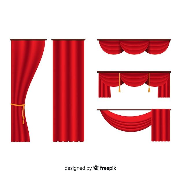 Satz flache rote vorhänge Premium Vektoren