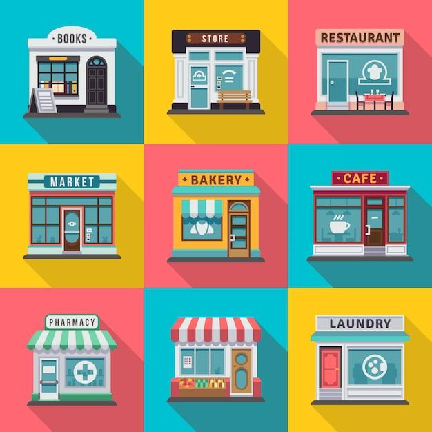 Satz flache shopgebäudefassadenikonen. vektorillustration für lokales marktspeicherhausdesign. shopfassadengebäude, straßenfrontmarkt Premium Vektoren