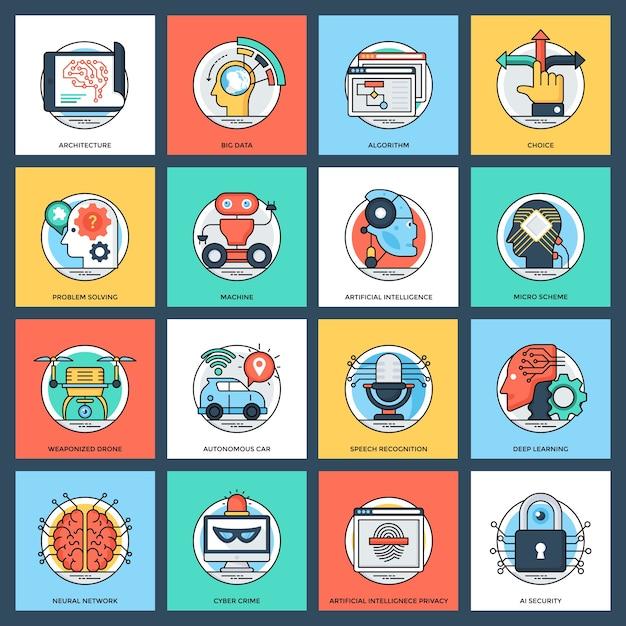 Satz flache vektor-ikonen der künstlichen intelligenz Premium Vektoren