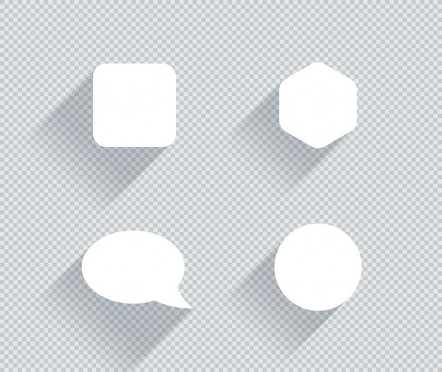 Satz flache weiße formen mit transparenten schatten Premium Vektoren