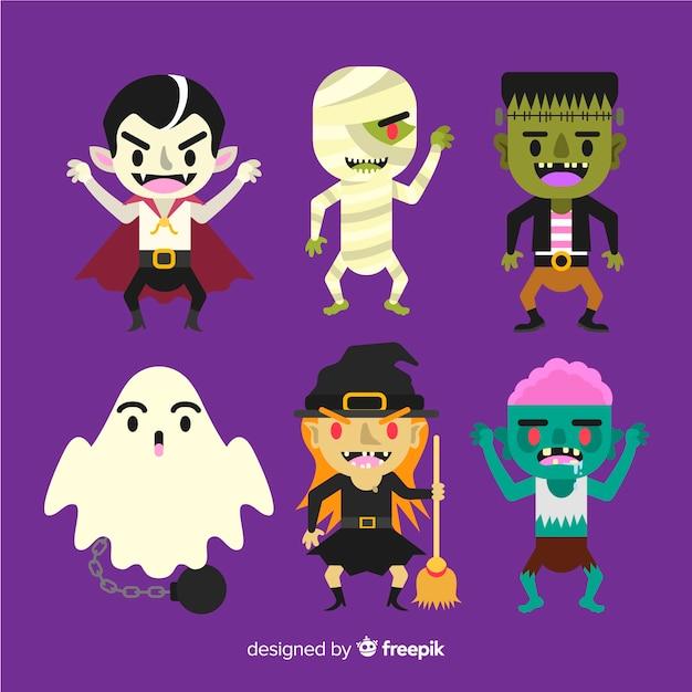 Satz flaches design der halloween-charaktere Kostenlosen Vektoren