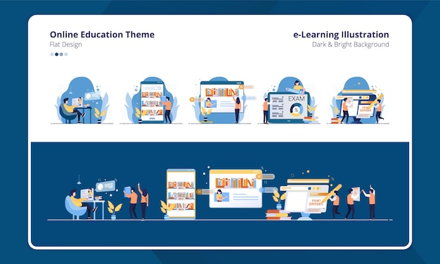 Satz flaches design der sammlung mit e-learning-illustration oder on-line-bildungsthema Premium Vektoren
