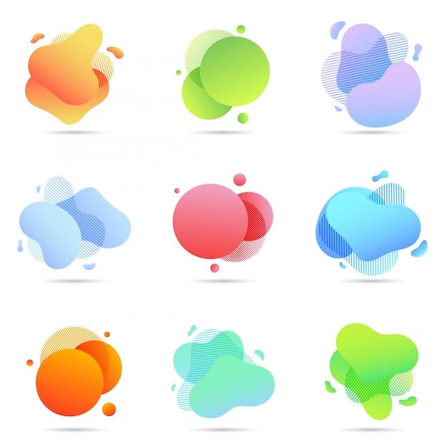 Satz flüssige farbzusammenfassungs-geometrische formen Premium Vektoren