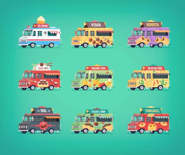Satz food truck icons. moderne konzeptkompositionen für food delivery service fahrzeuge. Premium Vektoren