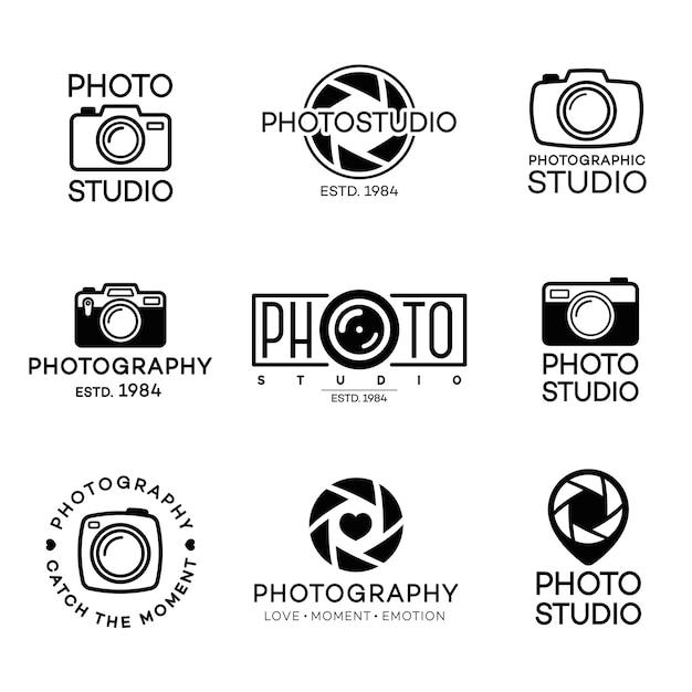 Satz fotografie-logo und fotostudio mit kamera Premium Vektoren