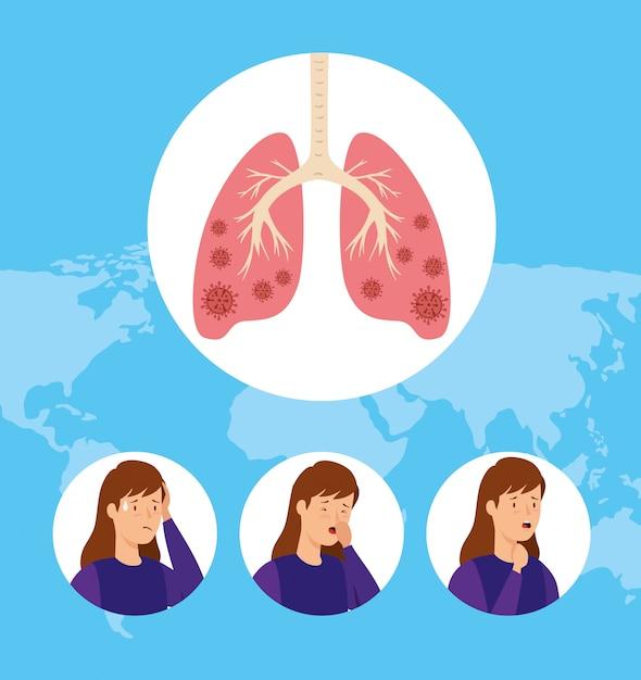 Satz frauen husten und infizierte lungen Kostenlosen Vektoren