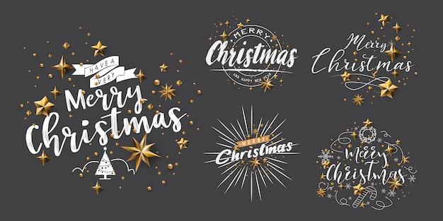 Satz frohe weihnacht-kalligraphische designe Premium Vektoren