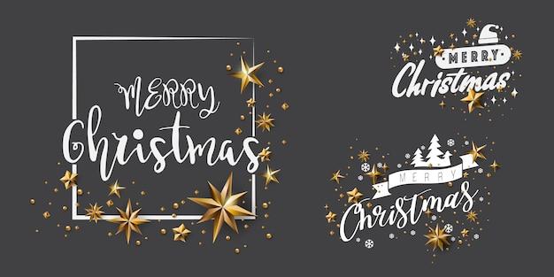 Satz frohe weihnacht-kalligraphisches design und verziert mit goldenen sternen Premium Vektoren