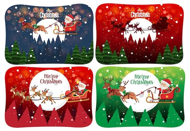 Satz frohe weihnachten szene mit weihnachtsmann im schnee Premium Vektoren