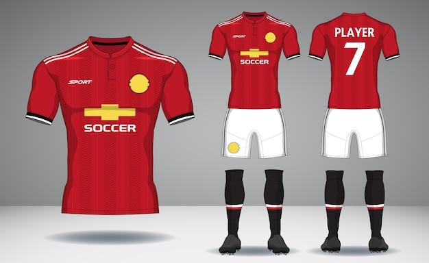 Satz fußballausrüstung, sport t-shirt design. Premium Vektoren