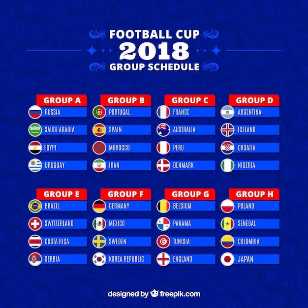 Satz fußballweltmeisterschaftsgruppen in der flachen art Kostenlosen Vektoren