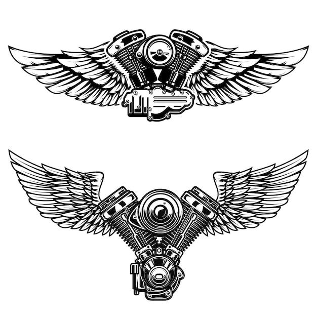 Satz geflügelter motorradmotor. elemente für poster, emblem, zeichen, logo, etikett, emblem. illustration Premium Vektoren