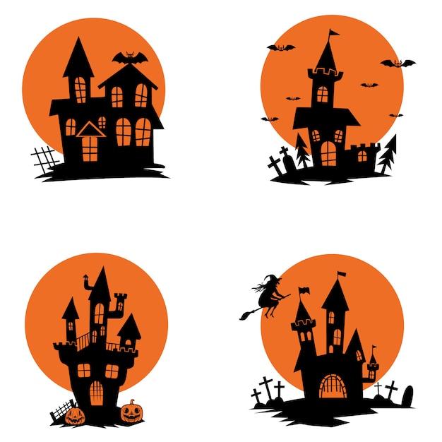 Satz geisterhäuser. halloween-thema. elemente für plakat, grußkarte, einladung. illustration Premium Vektoren