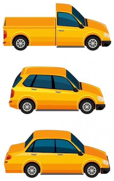 Satz gelbe autos auf weißem hintergrund Kostenlosen Vektoren