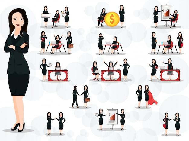 Satz geschäftsfrauen in den verschiedenen arbeitsposen und -gesten an Premium Vektoren