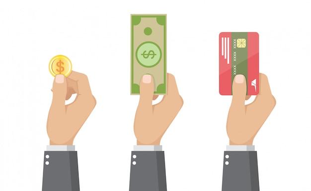 Satz geschäftsmänner, die kreditkarte, münze und geldschein halten Premium Vektoren