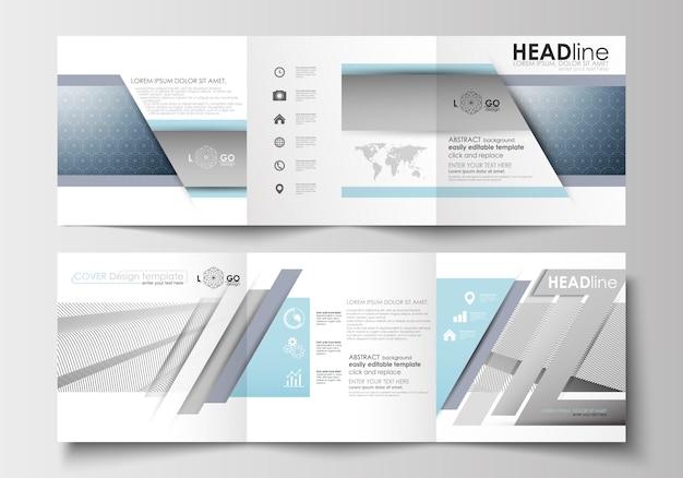 Satz geschäftsvorlagen für dreifach gefaltete broschüren. quadratisches design Premium Vektoren